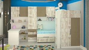 3D kids room design scene model