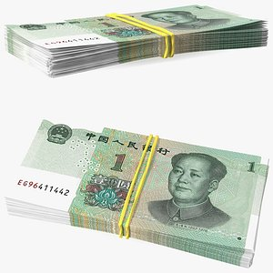 3D Stack of Chinese 1 Yuan 2019 Bills with Rubber Band model
