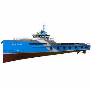 FAST CREW SUPPLIER VESSEL Blue 3D model