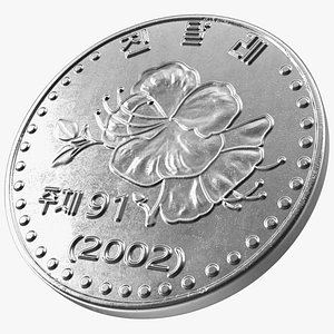 3D model North Korea Coin 10 Chon 2002