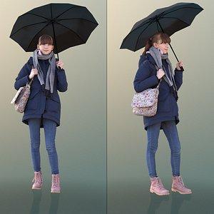 3D model girl young umbrella