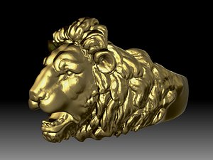 3D model Chief Boss King Lion High detailed Ring 3d Printable