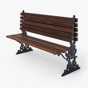 3D city bench pbr -
