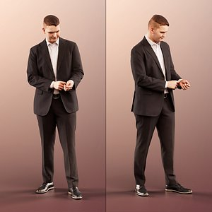 man business standing 3D model