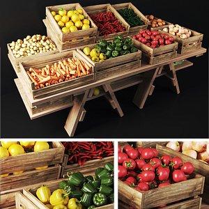 Market showcase with vegetables 3D model