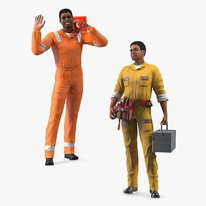 3D model Light Skin Black Workers Rigged Collection