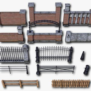 Fences Pillars Hitching Posts Gates Part 1 - 107 low-poly PBR objects 3D model