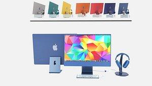 Apple cet 2021 \ iMac 24 \ Air Pod MAX 3D model