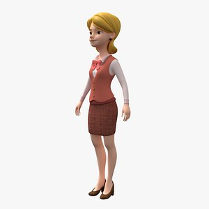 3D model toon woman character