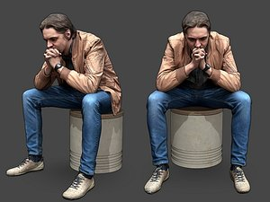 3D model Stylized Man Character Sitting