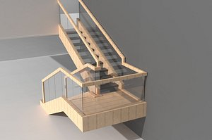 3D Stairs, wooden stairs, Chinese stairs, ancient wooden stairs, handrails, columns, guardrails, wooden