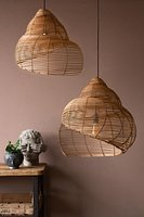 Spiral Shell Shaped Rattan Ceiling Lamp