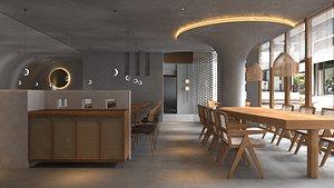 3D Nordic Simple Fast Food Restaurant