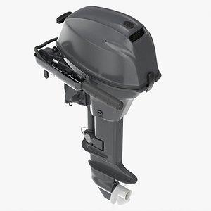 Portable outboard boat motor with folded tiller 3D model