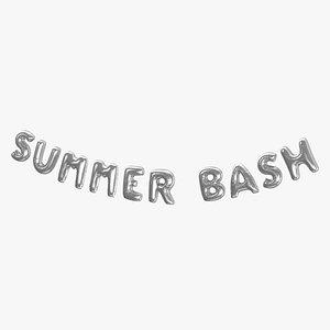 3D Foil Baloon Words Summer Bash Silver
