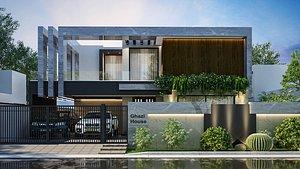 3D Modren Exterior House Scene 3D model