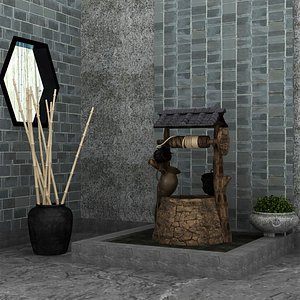 3D Interior Set with Old Well model