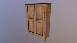 3D model Low Poly Old Wardrobe