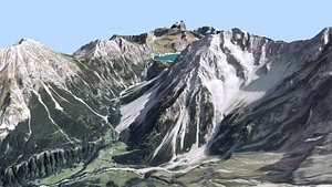 Mountain landscape Alps Switzerland 2 3D