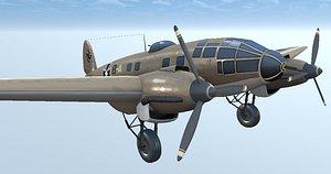 german bomber hand-painted 3D model