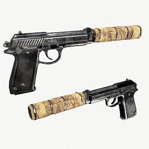 pistol suppressor prb92 3D model