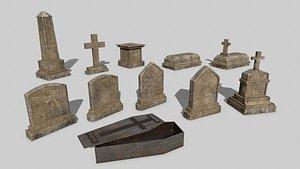 Tomb Stone Set 3D model
