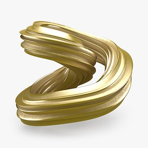 3D Abstract Shape 01 Gold model