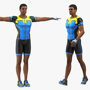3D light skin black sportsmen