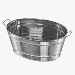 3D Large Galvanized Steel Oval Tub