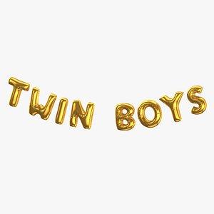 3D Foil Baloon Words Twin Boys Gold