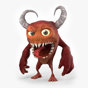 Funny Cartoon Demon with Horns model