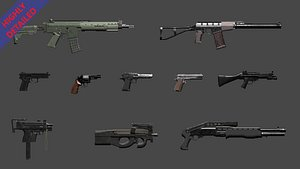 3D weapon pack guns model