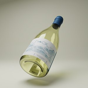 bottle white wine 3D model