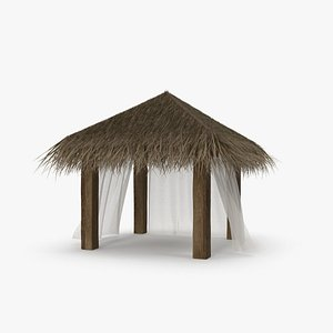 Straw Beach Pergola with Curtains 3D model