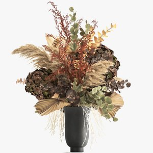 3D Bouquet of dried flowers in a vase 160