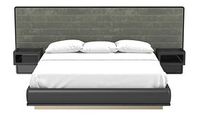 Custom made bed with built in nightstands 3D model