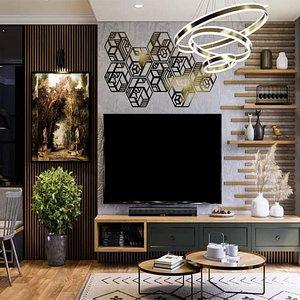 interior living reception 3D
