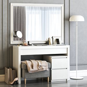 3D IKEA MALM Dressing Table with SONGE wall mirror and Strandmon Gray Ottoman model