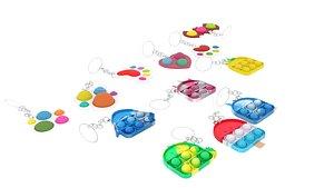 3D Simple Dimples and Pop It Fidget Toy Keychains Set