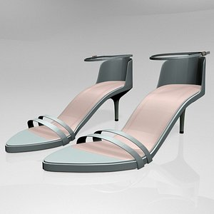 3D stylish pointy-toe ankle-strap high-heel model