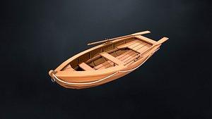 Stylized wooden fishing boat 3D