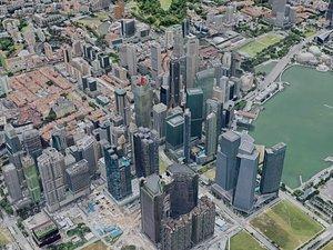 3D singapore city building