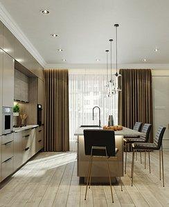 3D model interior kitchen chair