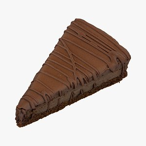 chocolate cake piece 01 3D model