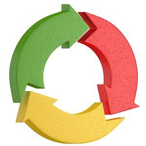 3D Triple Circular Arrows Symbol 01