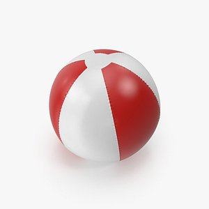 Red and White Inflatable Beach Ball 3D