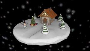 3D christmas cartoon island