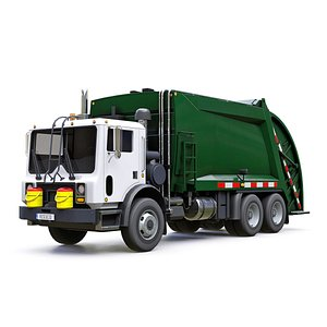 3D model low-poly garbage truck
