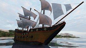 High Seas Pirate Ship 3D model