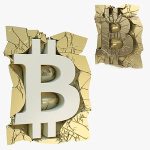 bitcoin fabric draped symbol 3D model